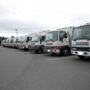 Lineup of Robison service trucks